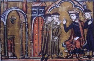 Gottfried von Saint-Omer und Hugo von Payns bei König Balduin II. von Jerusalem